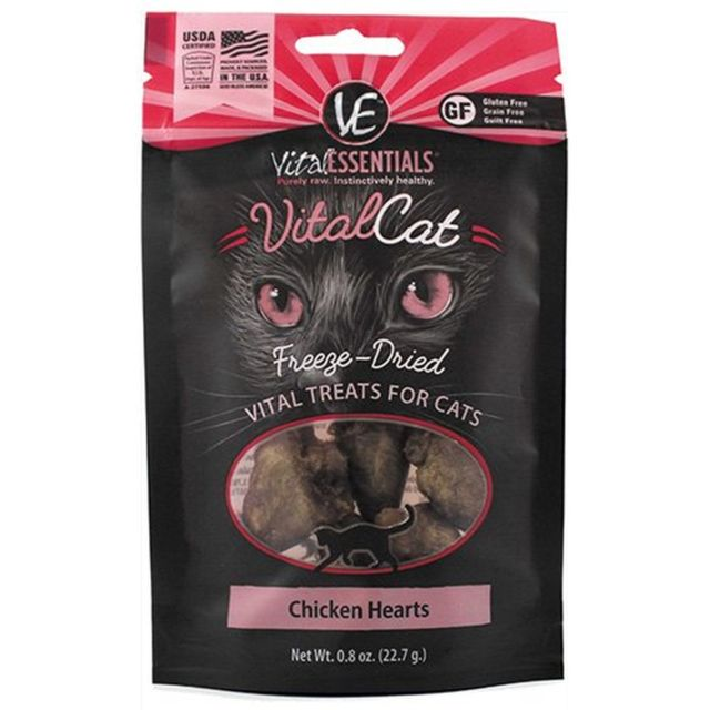 VITAL ESSENTIALS FREEZE DRIED CHICKEN HEARTS CAT TREATS