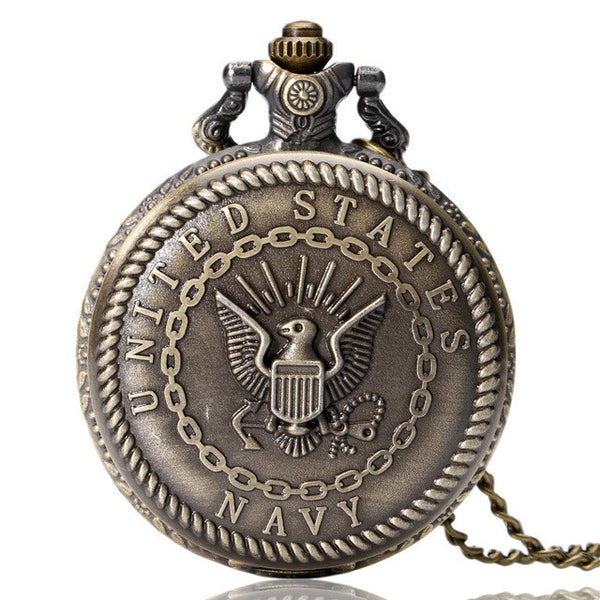 United States Army Navy Airforce Marine Corps Coast Guard Police Pocket Watch Necklace Chain -  watches - GALVATION