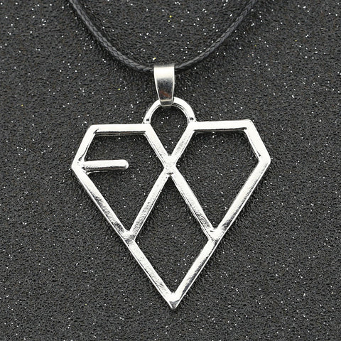 Silver EXO Necklace - KPOP Heart Love Fashion Pendant -  Necklace - GALVATION