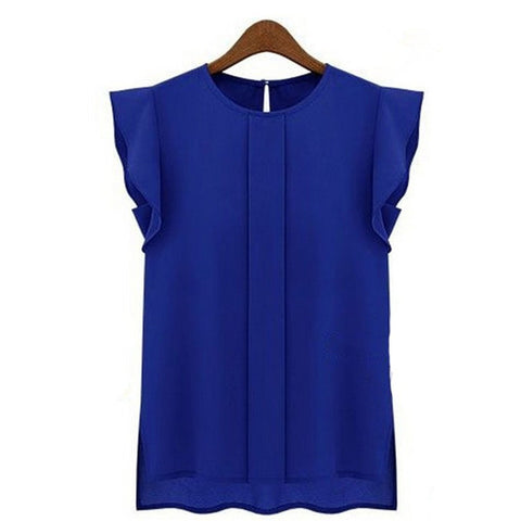 New Summer Blouse - Lady Shirt New Ruffle Short Sleeve Female Blouses -  blouses - GALVATION