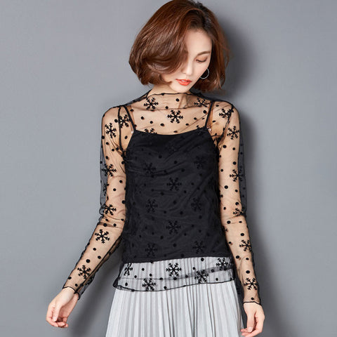 Summer Sexy Women Lace Blouses - Sexy See-through Long Sleeve mesh Blouses Shirts -  shirts - GALVATION
