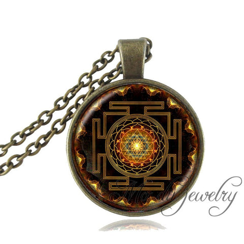 New Sacred Geometry Buddhist Sri Yantra Pendant Necklace -  Necklace - GALVATION