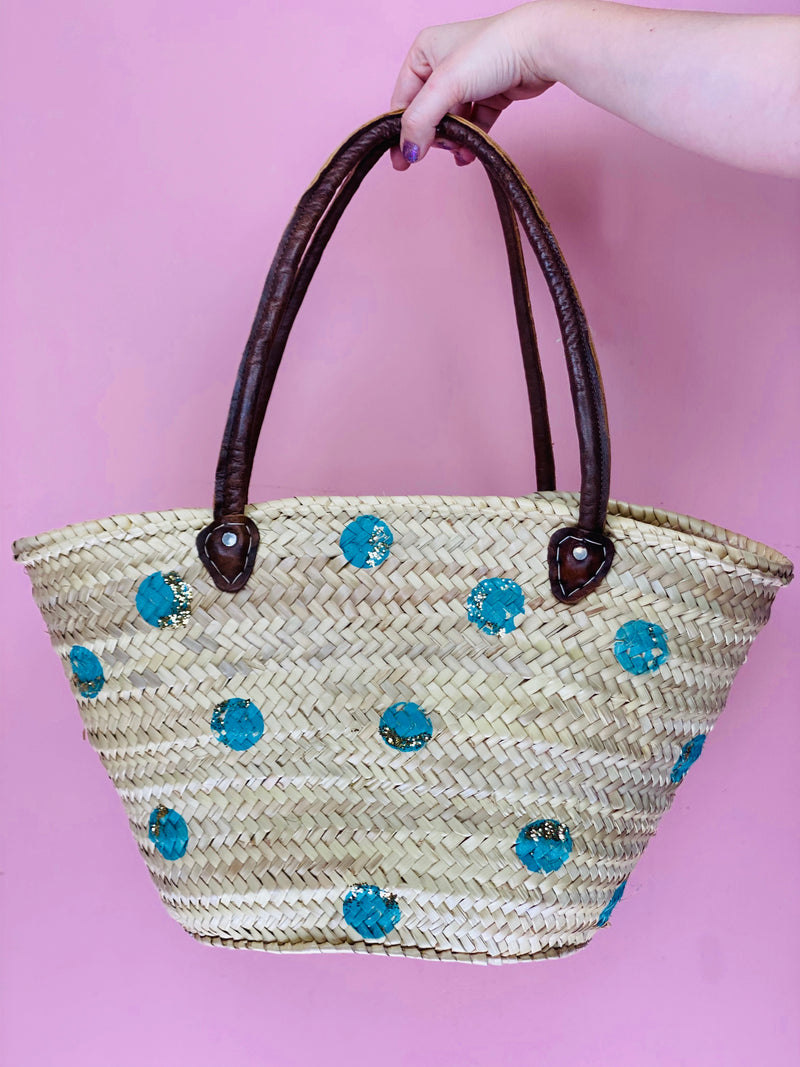 Hand Painted Straw Tote