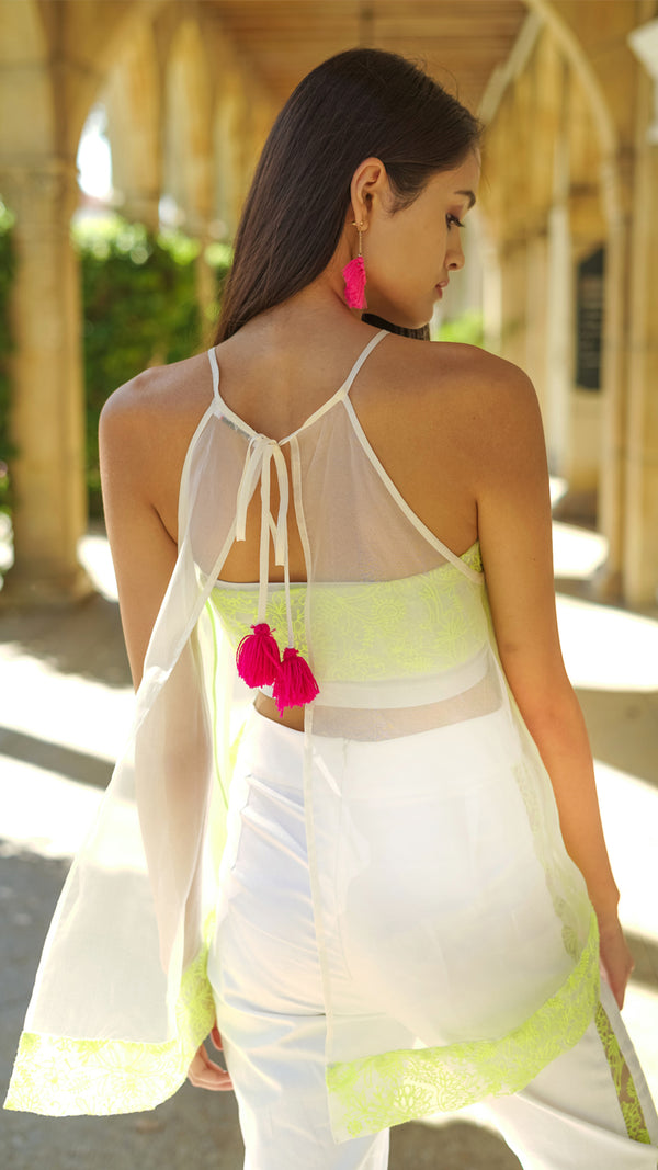 Anita Sheer Neon Trim Halter MADE TO ORDER