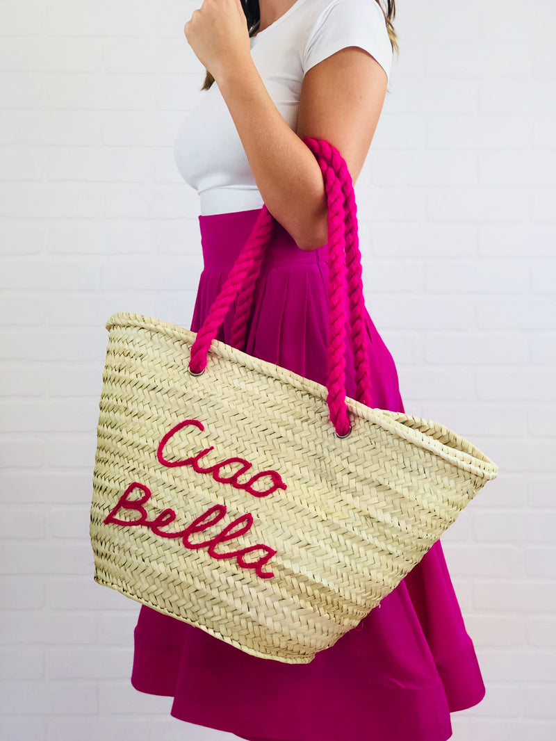 "Maia ""Ciao Bella"" Embroidered Straw Tote"