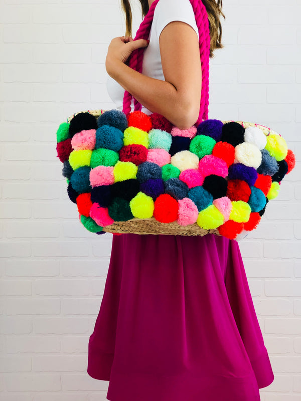 Allison Pom Pom Covered Straw Bag