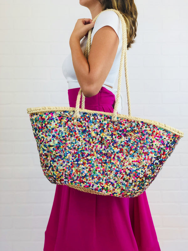 Minerva Sequin Covered Straw Tote