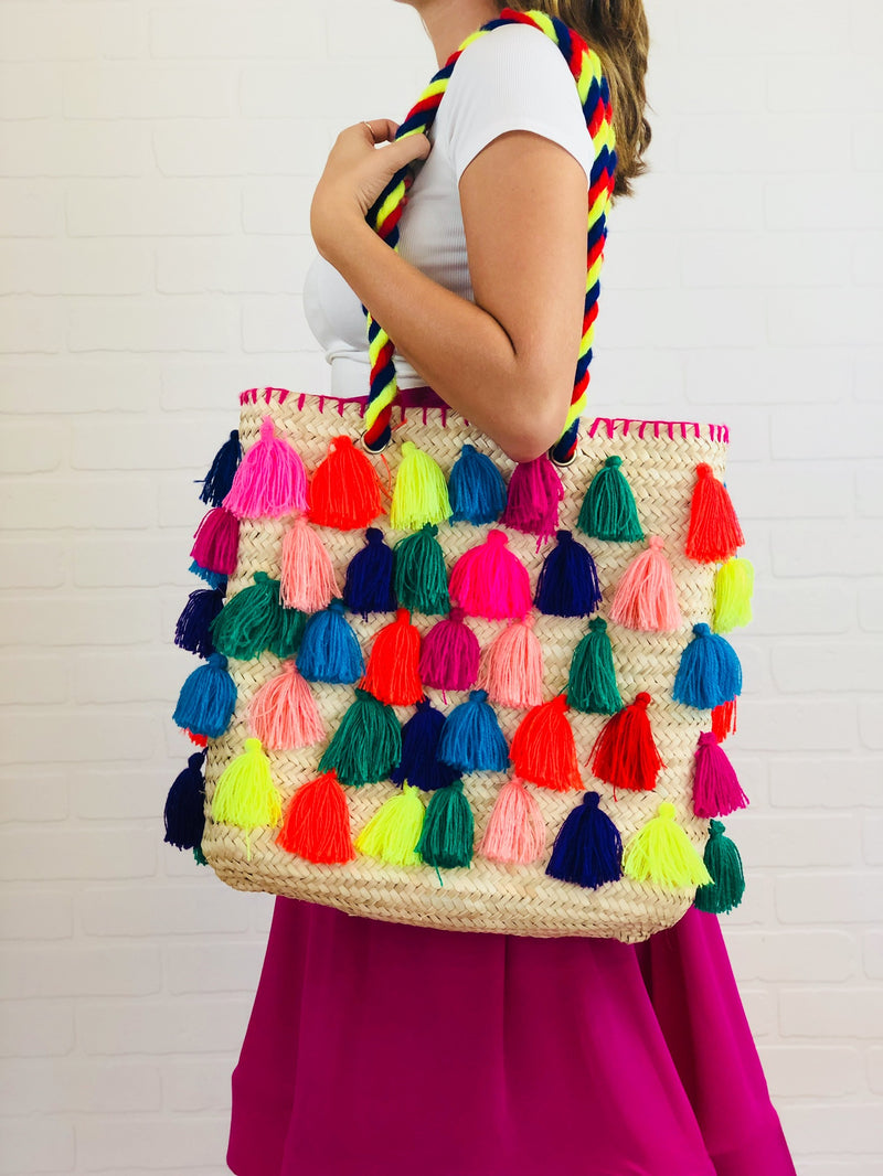 Athena Rectangle Multi Tassel Straw Bag