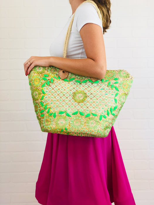 Tara Green Embroidered Straw Tote