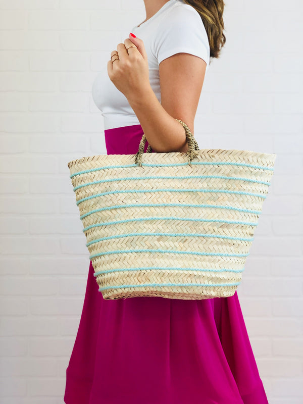 Rae Seafoam Striped Straw Tote