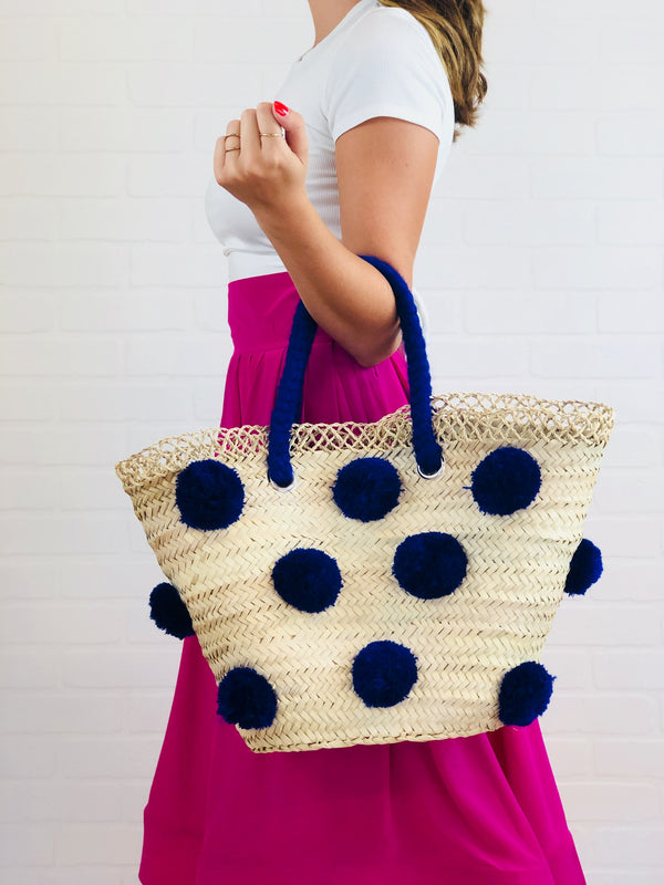 Patti Blue Pom Pom Straw Tote