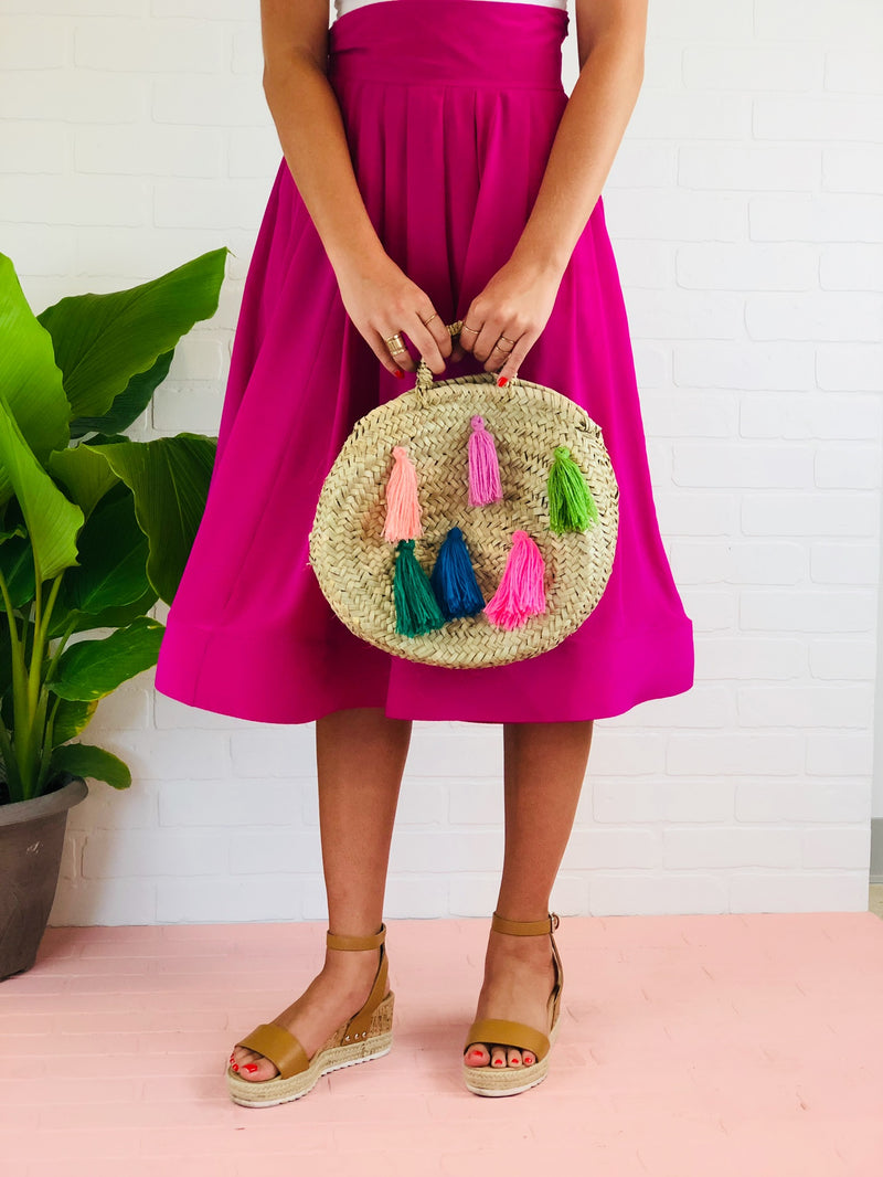 Mini Tassel Straw Purse