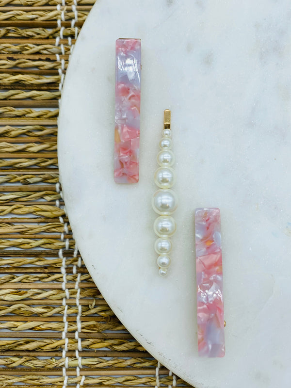 Wai Tortoise Barrette with Pearl 3 Pack