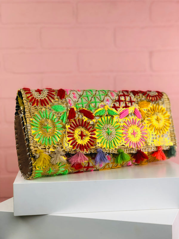 Elle Metallic Embroidered Clutch