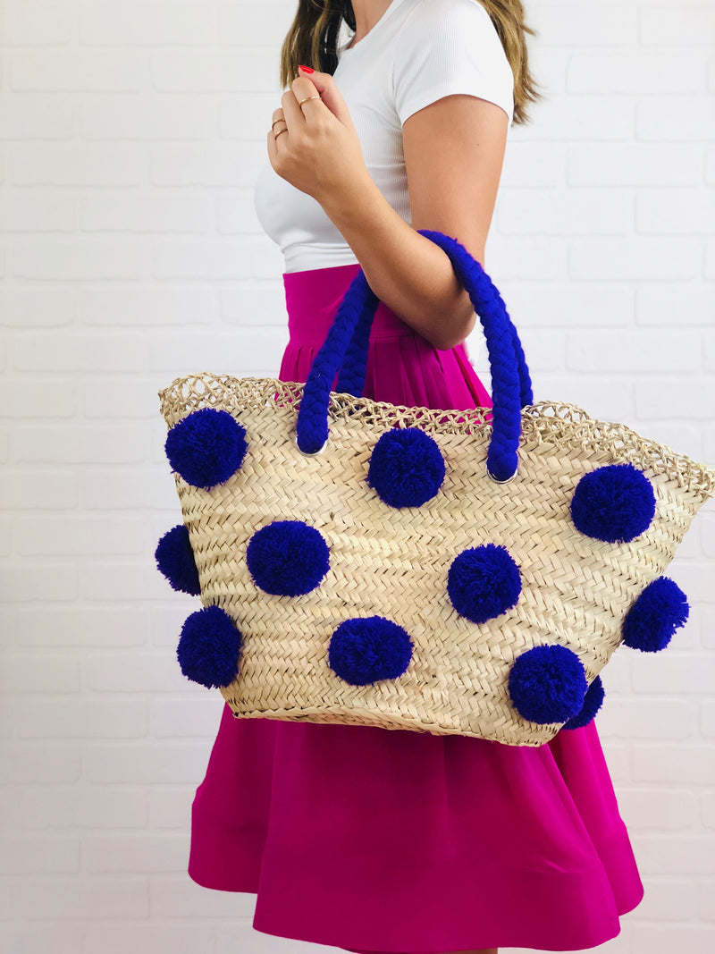 Patti Purple Pom Pom Straw Tote