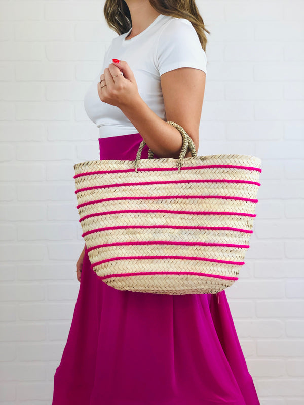 Rae Hot Pink Striped Straw Tote