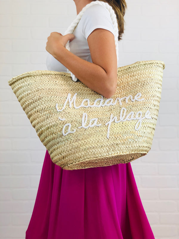 Antoinette Embroidered Straw Tote