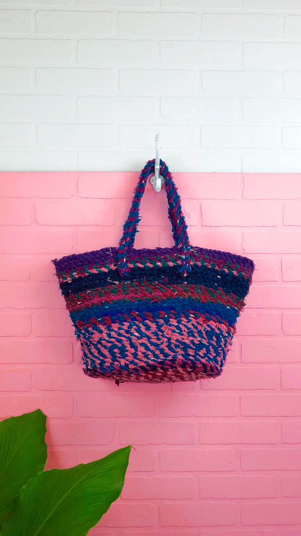 Juno Twisted Fabric Covered Straw Bag