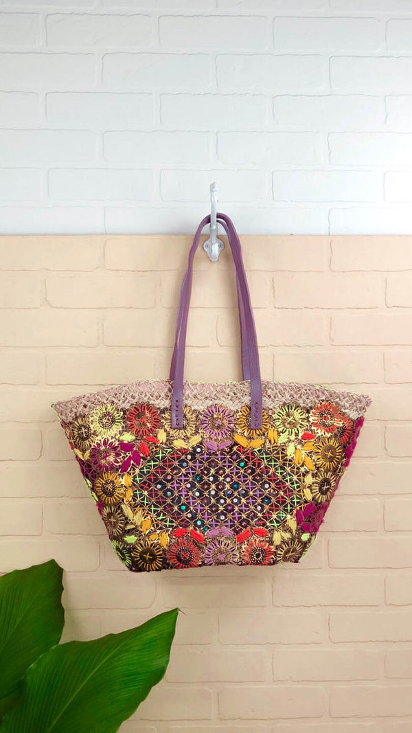 Lana Sequin Embellished Straw Tote