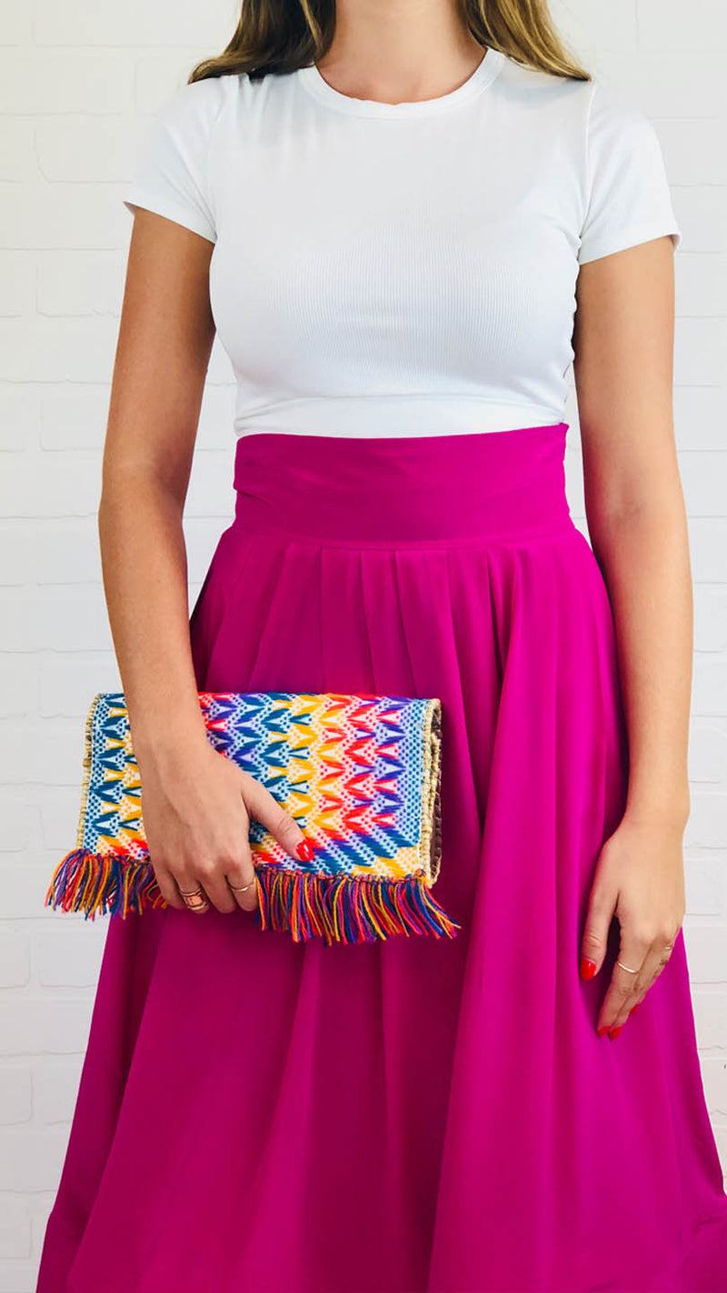 Marcella Embroidered Straw Clutch- One of a kind