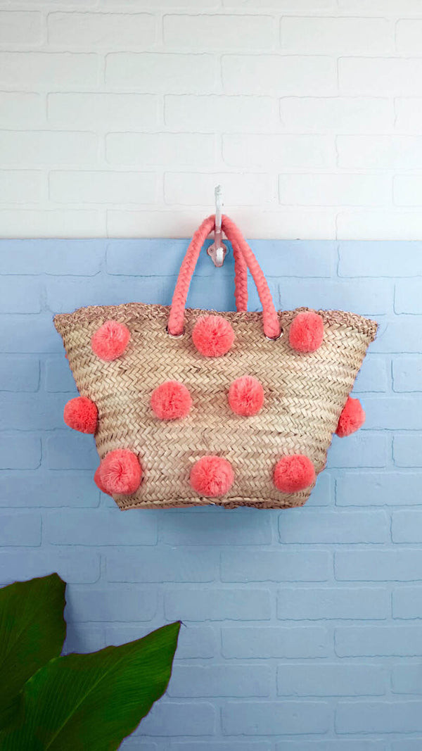 Patti Peach Multi Pom Pom Straw Tote