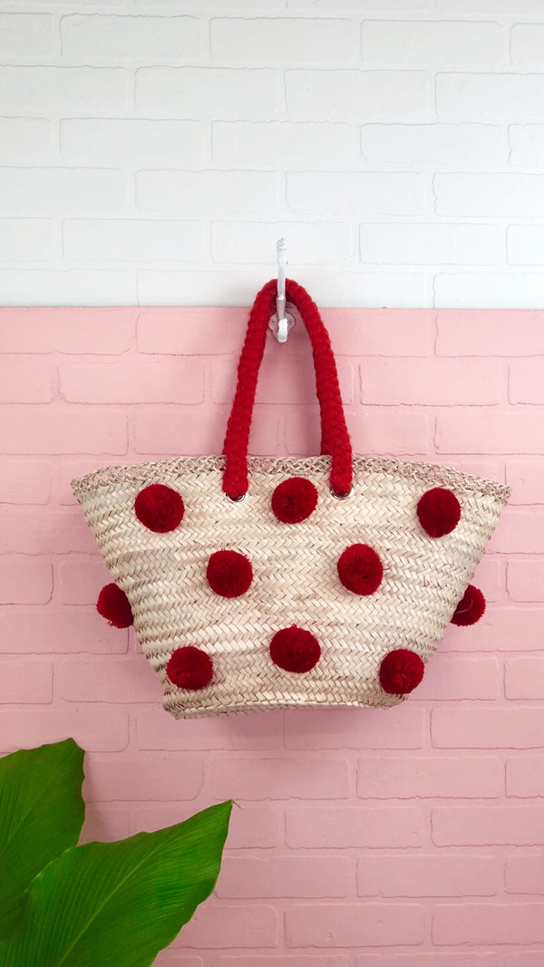 Patti Red Multi Pom Pom Straw Tote