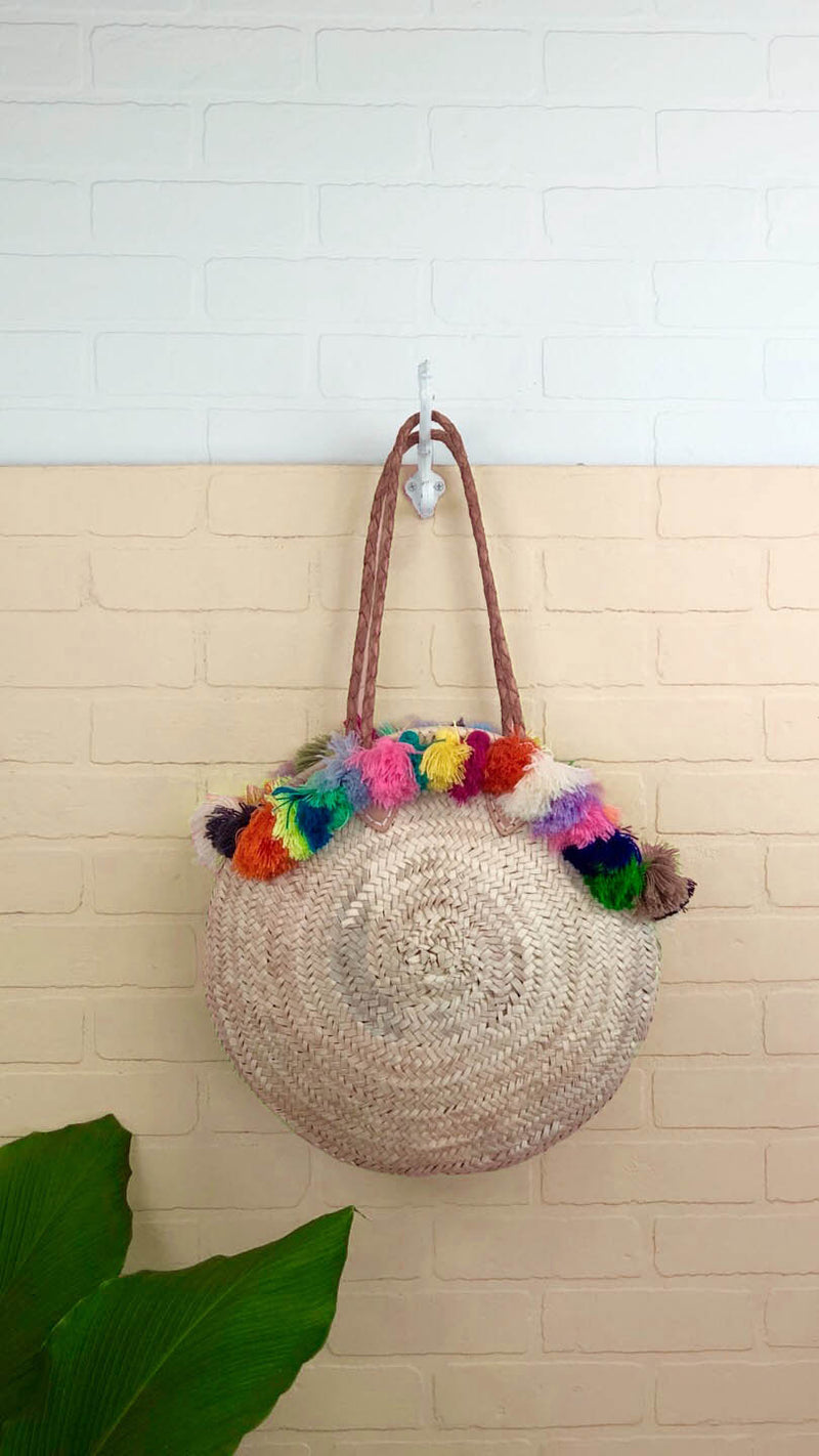 Sage Round Multi Tassel Straw Bag