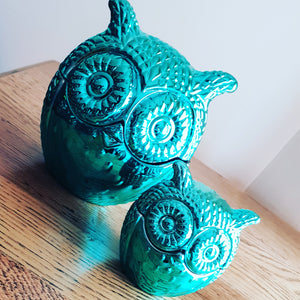 Teal baby owl candles