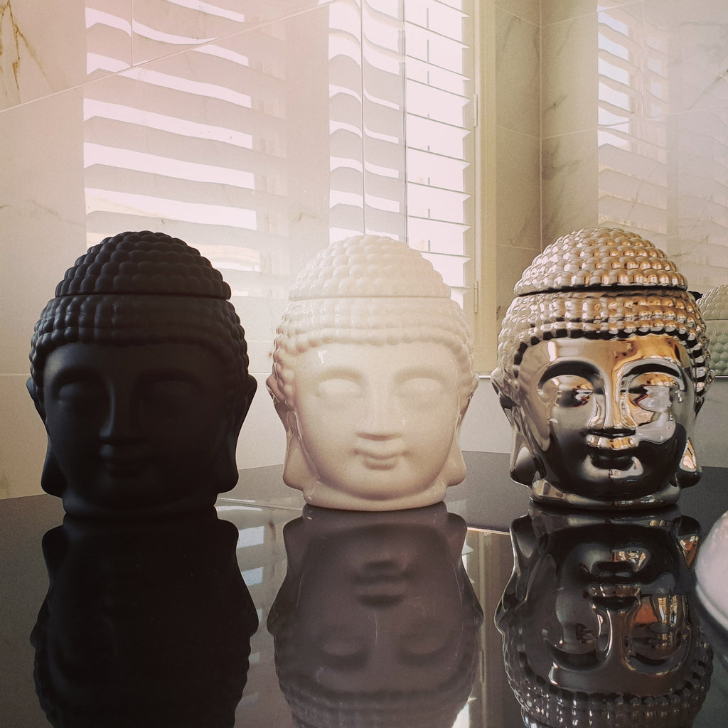 soy candles, buddha, buddha candle, silver, black white