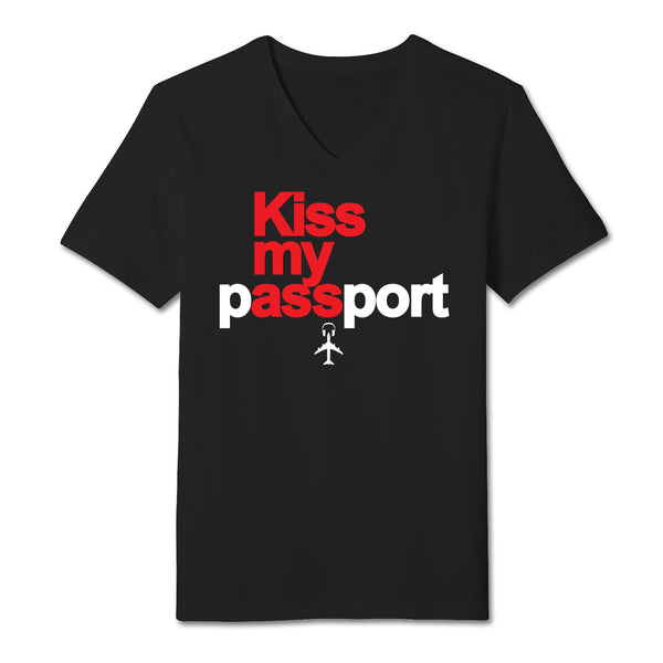 """Kiss my Passport"" Black V-Neck tee shirt"