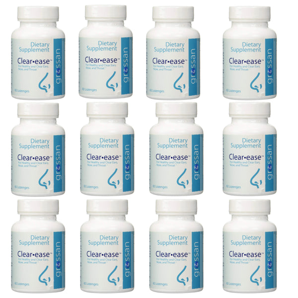 Grossan Clear-Ease Tablets 12 Pack for Healthy & Clear Ears, Nose and Throat