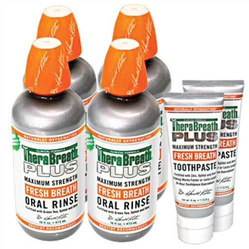 Therabreath Plus Oral Rinse (Package of Four)  Bundled With Therabreath Plus Toothpaste ( 2 Tubes) - Powerful For Conquering Bad Breath