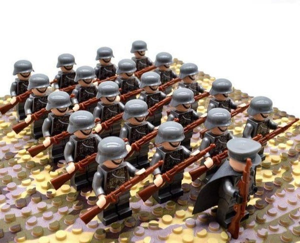 IN STOCK!! 21 piece set WW2 Army Military Building Blocks Infantry France Italy Japan Britain China Mini Soldier Officer Weapons Bricks - Youthful Imagination
