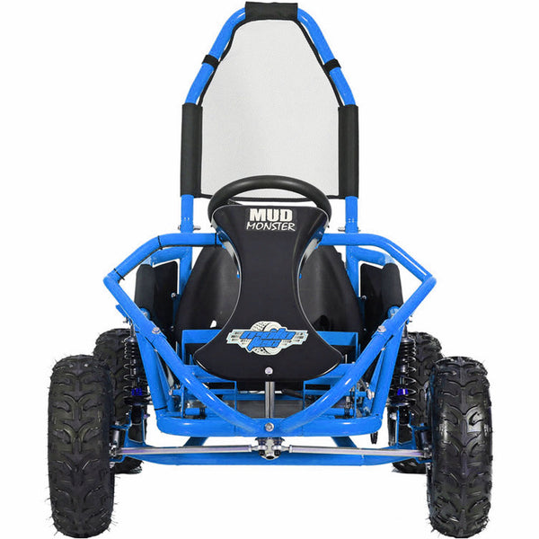 MotoTec Mud Monster Kids Gas Powered 98cc Go Kart Full Suspension Blue