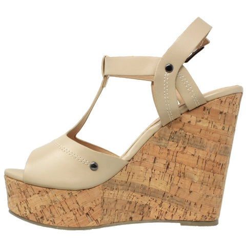 T-Strap Cork Wedge Sandal