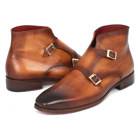 Paul Parkman | Brown Double Monkstrap Boots