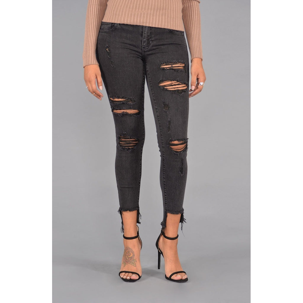 Mid Rise Distressed Jeans