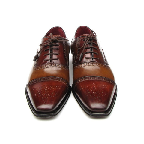 Paul Parkman | Camel & Red Captoe Oxfords