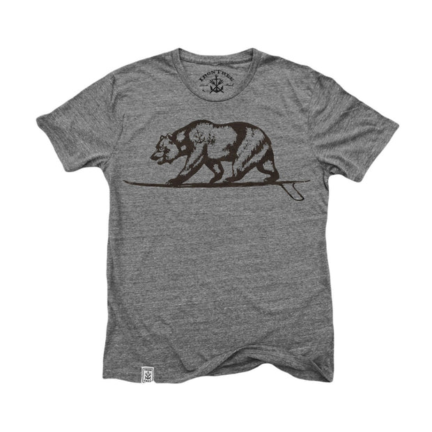 Cali Bear Surfing: Tri-Blend Short Sleeve T-Shirt in Tri Vintage Grey