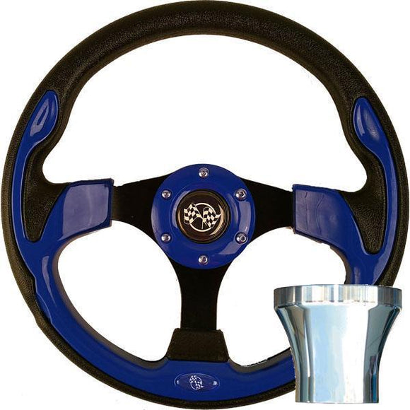 STEERING WHEEL KIT, BLUE/RALLY 12.5 W/CHROME ADAPTER, E-Z-GO