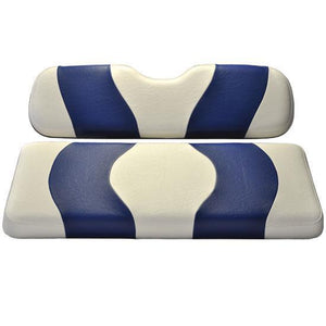 WAVE FRONT SEAT COVER EZGO TXT WHITE/BLUE