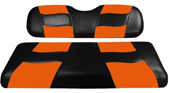 RIPTIDE Black/Orange Two-Tone Rear Seat Covers for G150