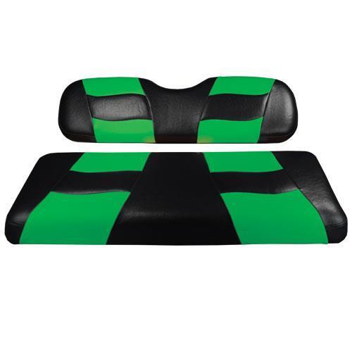 RIPTIDE Blk/LimeCool Green Two-Tone Front Seat Covers DS