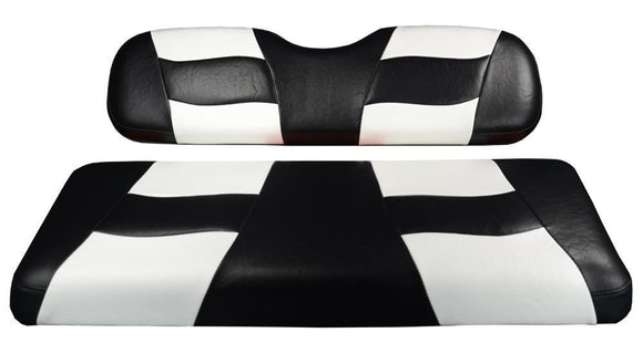 RIPTIDE Black/White Two-Tone Front Seat Covers for Star Cart