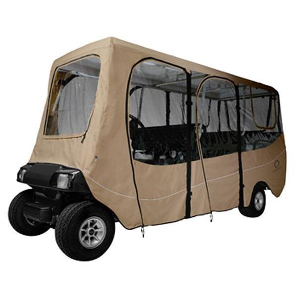Deluxe golf car enclosure, extra long roof, six-person car,