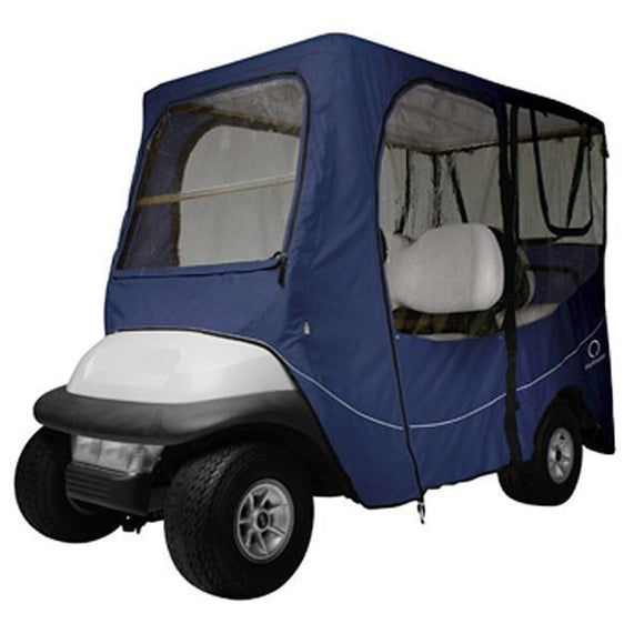 Deluxe golf car enclosure, long roof, 4-pass car, Navy