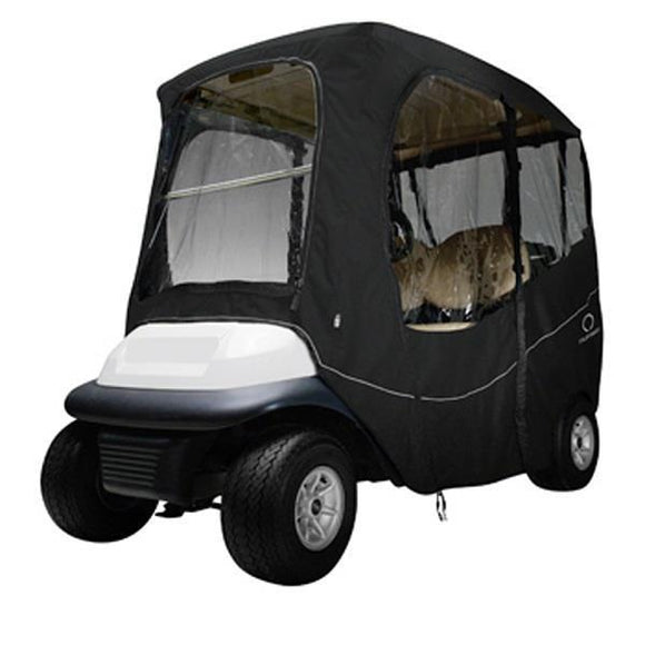 Deluxe golf car enclosure, short roof, two-person car, black