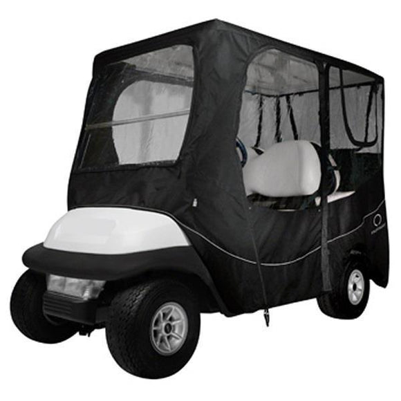 Deluxe golf car enclosure, long roof, four-person car, black