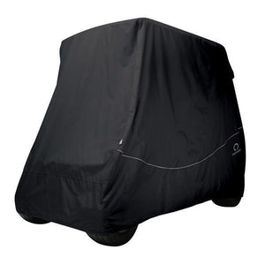 Golf car quick-fit cover, short roof, two-person car, black