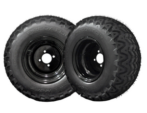 Madjax 10x8 Black Steel Wheels w/ 22x11x10 Predator A/T Tires golf cart set of 4